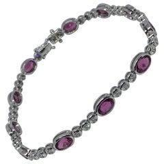 18 Karat White Gold Pink Tourmaline and Diamond Bracelet
