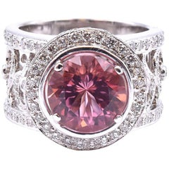 18 Karat White Gold Pink Tourmaline and Diamond Wide Filigree Ring