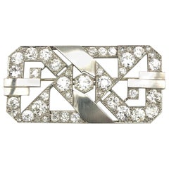 18 Karat White Gold Platinum Art Deco Diamond 11 Carat European Cut Brooch