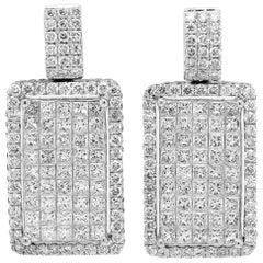 18 Karat White Gold Princess and Round Cut Diamond Drop Earrings