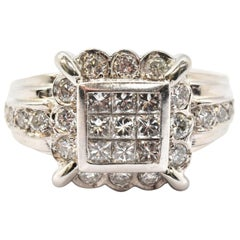 18 Karat White Gold Princess Cut and Round Brilliant Invisible Set Diamond Ring