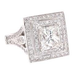 18 Karat White Gold Princess Cut Diamond Engagement Ring