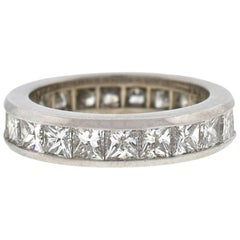 18 Karat White Gold Princess Cut Eternity Band