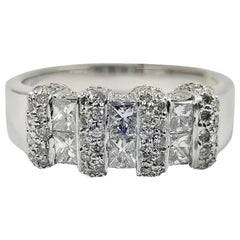 18 Karat White Gold Princess and Round Diamond Cluster Band