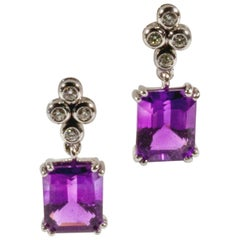 18 Karat White Gold Purple Rectangular Amethyst and Diamond Earrings