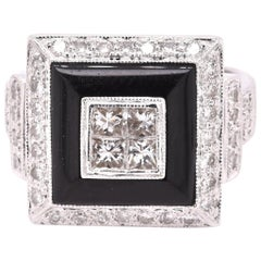 18 Karat White Gold Quad Set Diamond and Black Onyx Ring