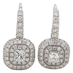 18 Karat White Gold Radiant Cut Diamond Double Halo Cocktail Earring