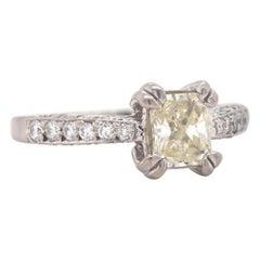 18 Karat White Gold Radiant Diamond Engagement Ring