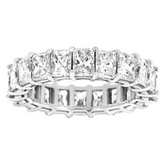 18 Karat White Gold Radiant Eternity Diamond Ring '6 Carat'