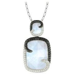 18 Karat White Gold Rainbow Moonstone w/Black & White Diamond Necklace 1.26 cttw