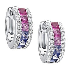 18 Karat White Gold Rainbow Sapphire Diamond Huggie Hoop Earrings