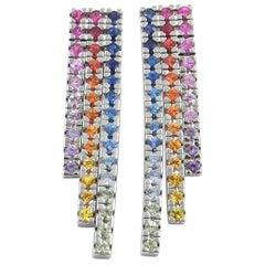 18 Karat White Gold Rainbow Sapphires Garavelli Earrings