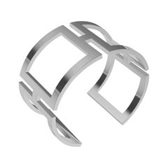 18 Karat White Gold Rectangle Cuff Bracelet