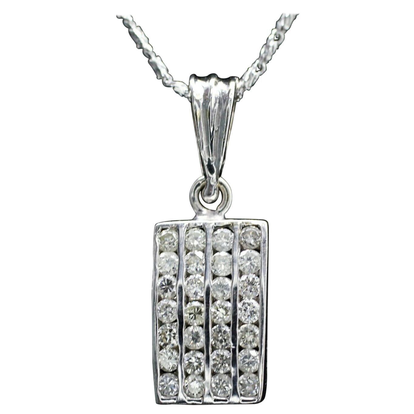 18 Karat White Gold Rectangular Diamond Pendant