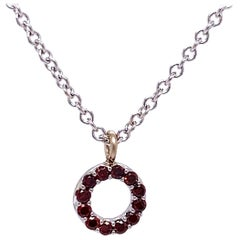18 Karat White Gold Red Diamond Circle Necklace