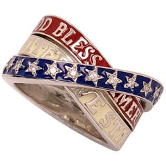 18 Karat White Gold, Red, White, Blue, God Bless America Enamel Ring