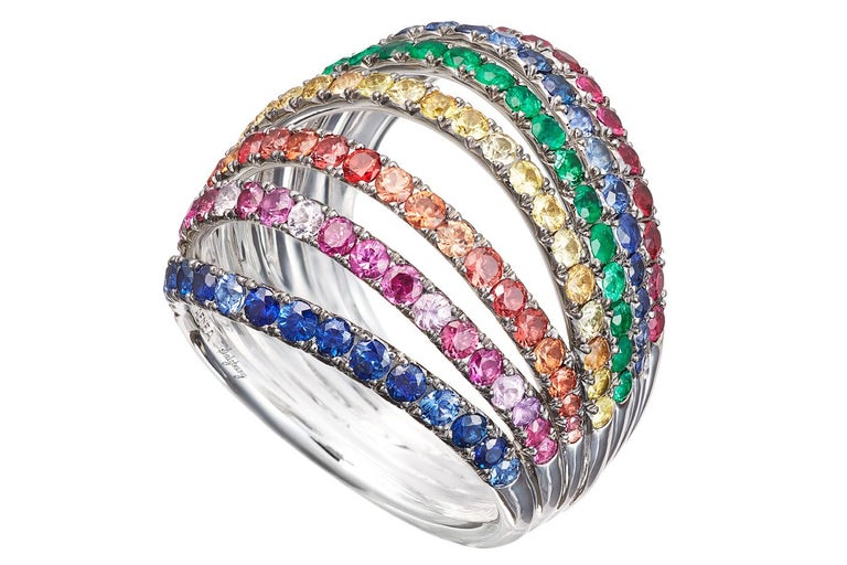 Women's 18 Karat White Gold Rhodium-Plated Sterling Silver Blue Sapphires Ring Aenea For Sale