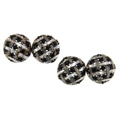 18 Karat White Gold Rhodium Silver Black Spinel Cufflinks