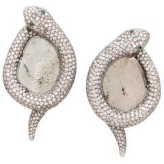 Manpriya B Slice Diamond 18K White Gold Rhodium Plated Serpent Stud Earrings