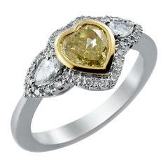 18 Karat White Gold Heart GIA Certified Fancy Yellow and White Diamond Ring