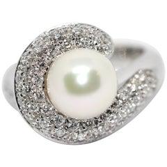 18 Karat White Gold Ring, Set with Diamonds, by Carl Bucherer