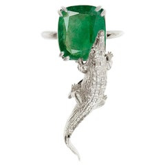 18 Karat White Gold Ring with 2.23 Cts. Cushion Natural Emerald