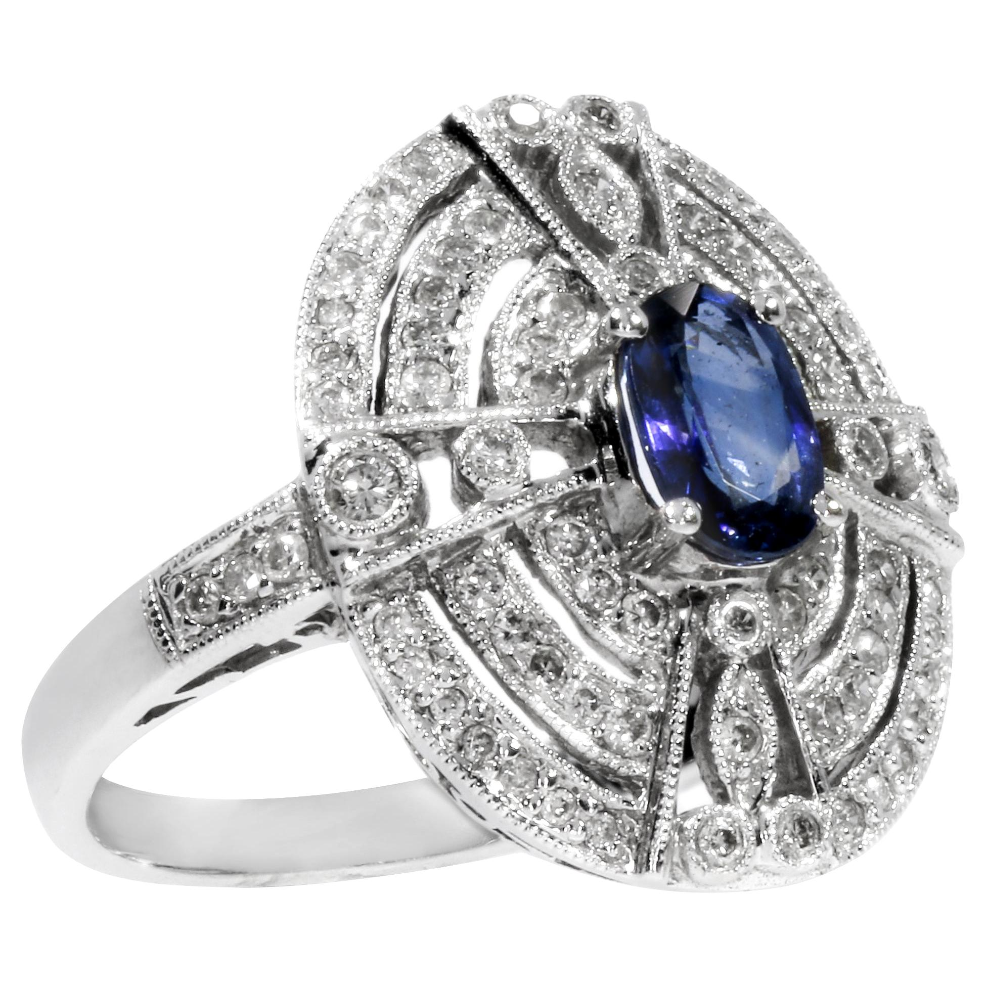 18 Karat White Gold Ring with 78 Diamonds and Sapphire