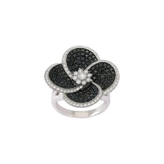 18 Karat White Gold Ring with Brilliant Cut White and Black Diamonds