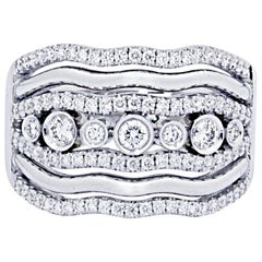 18 Karat White Gold Ring with Brilliant Cut, White Diamonds