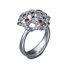 18 Karat White Gold Ring with Diamonds Rubies and Sapphires