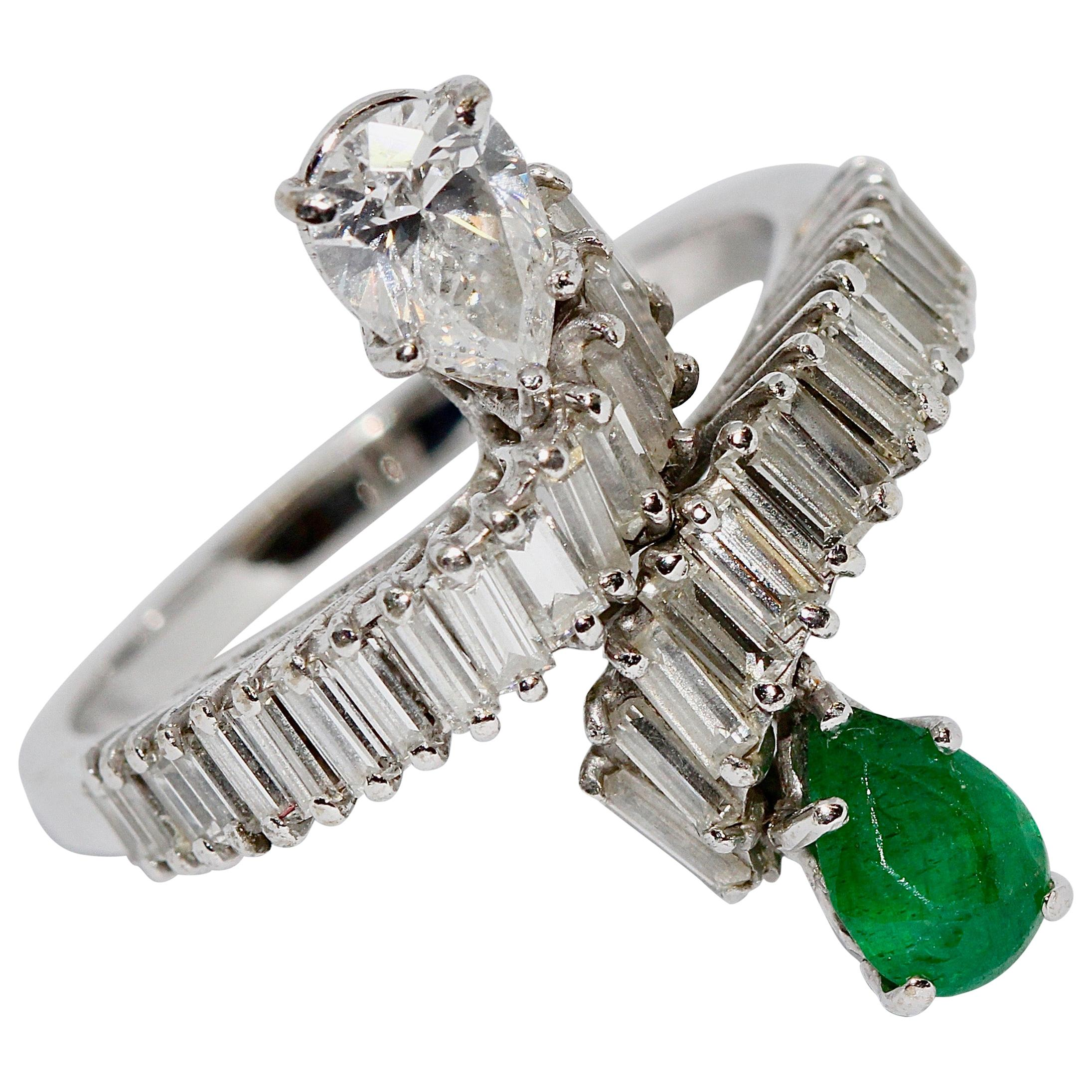 18 Karat White Gold Ring with Pear Cut Diamond and Emerald and Baguette Diamonds