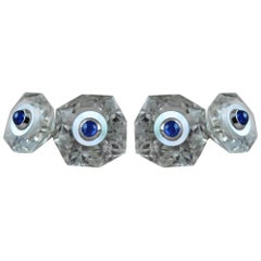 18 Karat White Gold Rock Crystal Mother of Pearl Blue Sapphires Cufflinks