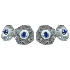 18 Karat White Gold Rock Crystal Mother of Pearl Blue Sapphires Cufflinks