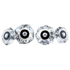 18 Karat White Gold Rock Crystal Onyx Diamond Cufflinks