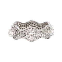 18 Karat White Gold Rose Cut and Pave Scalloped Eternity Ring