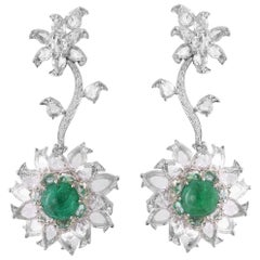 18 Karat White Gold, Rose Cut, Brilliant Cut & Emerald Cabochon Studded Earrings