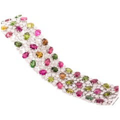18 Karat White Gold Rose Cut Diamond and Tourmaline Bracelet