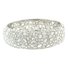 18 Karat White Gold Rose Cut Diamond Bangle