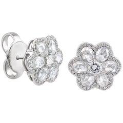 18 Karat White Gold Rose Cut Diamond Blossom Ear Studs Earrings
