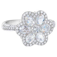 Rarever 18K White Gold Rose Cut Diamond Blossom Flower Cocktail 2.59cts Ring