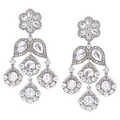 18 Karat White Gold 7.71ct Rose Cut Diamond Chandelier Flower Earrings