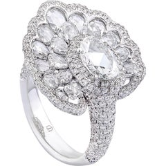 Rarever 18K White Gold Rose Cut Diamond 4.20cts Pave Cocktail Ring