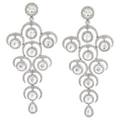 Rarever 18K White Gold Rose Cut Diamond Chandelier 9.20cts Earrings
