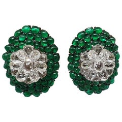 18 Karat White Gold, Rose Cut Diamond and Emerald Cabochon Bead Ear Studs