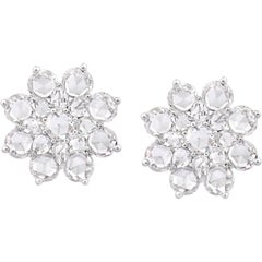 Rarever 18K White Gold Rose Cut Diamond Flower Cluster Studs 5.42cts Earrings
