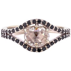 18 Karat White Gold Rose Cut Diamond Ring with Black Diamonds