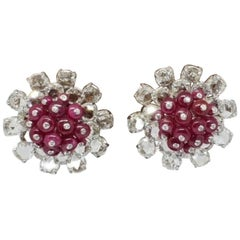 18 Karat White Gold, Rose Cut Diamond and Ruby Bead Ear Studs