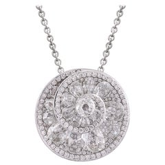 Rarever 18k White Gold Rose Cut Diamond Helix Pendant 4.84cts Necklace