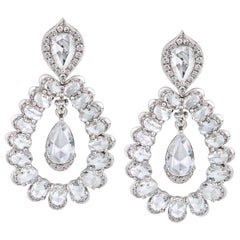 Rarever 18K White Gold Rose Cut Pear Diamond Drop Earrings 5.11cts Earrings