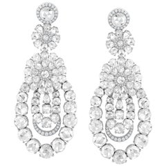 18k White Gold Rose Cut 10.64ct Diamond Chandelier Earrings